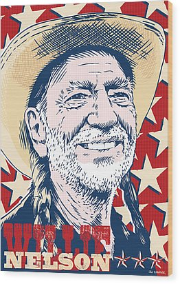 Willie Nelson Pop Art Wood Print by Jim Zahniser