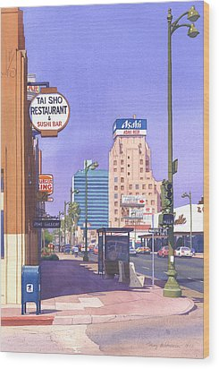 Wilshire Blvd At Mansfield Wood Print by Mary Helmreich