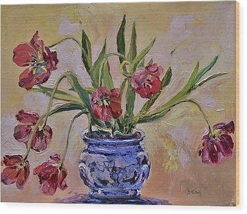 Wilting Tulips Wood Print by Donna Tuten