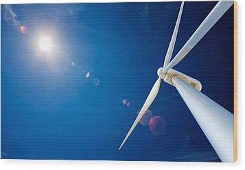 Wind Turbine And Sun  Wood Print by Johan Swanepoel