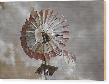 Windmill Wood Print by Steven  Michael