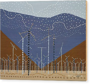 Windmills Of The Coachella Valley Wood Print by Linda Wolf