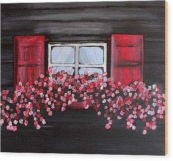 Window Box Wood Print by Vicki Kennedy
