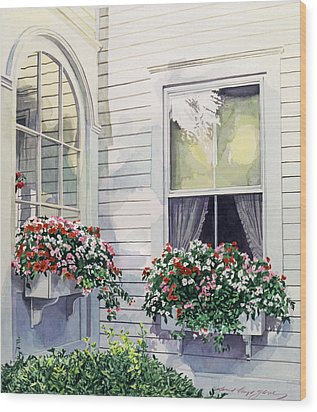 Window Boxes Wood Print by David Lloyd Glover