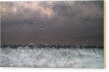 Window Sea Storm Wood Print by Stelios Kleanthous