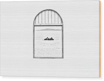 Window View Of Desert Island Puerto Rico Prints Black And White Line Art Wood Print by Shawn O'Brien