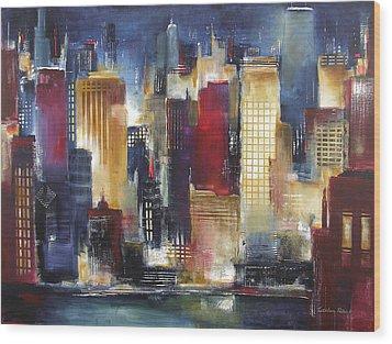 Windy City Nights Wood Print by Kathleen Patrick