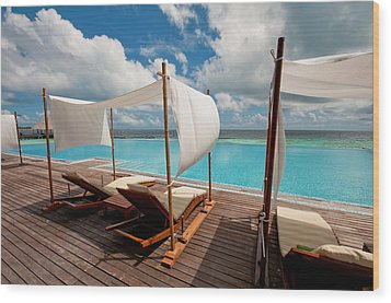 Windy Day At Maldives Wood Print by Jenny Rainbow