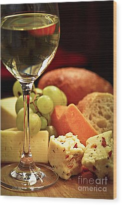 Wine And Cheese Wood Print by Elena Elisseeva