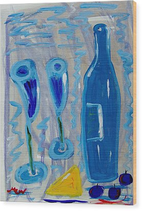 Wine And Cheese Wood Print by Mary Carol Williams