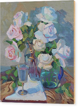 Wine And Roses Wood Print by Diane McClary