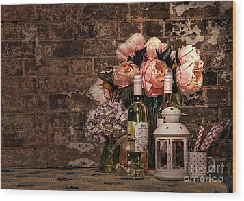 Wine And Roses Wood Print by Kaye Menner
