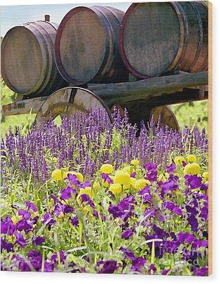 Wine Barrels At V. Sattui Napa Valley Wood Print by Michelle Wiarda