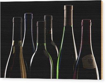 Wine Bottles Wood Print by Tom Mc Nemar