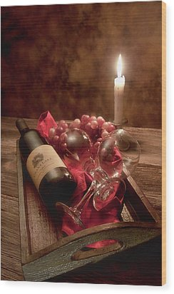 Wine By Candle Light I Wood Print by Tom Mc Nemar