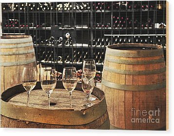 Wine Glasses And Barrels Wood Print by Elena Elisseeva