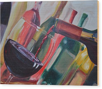 Wine Pour IIi Wood Print by Donna Tuten