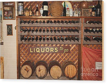 Wine Rack In The Cellar Room At The Swiss Hotel In Sonoma California 5d24451 Wood Print by Wingsdomain Art and Photography