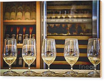 Wine Tasting  Wood Print by Elena Elisseeva