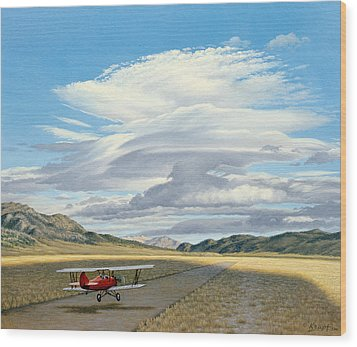 Winged Dreams -travelaire Biplane Wood Print by Paul Krapf