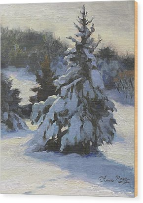 Winter Adornments Wood Print by Anna Rose Bain