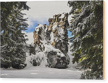 Winter At The Stony Summit Wood Print by Aged Pixel
