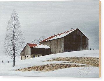 Winter Barn Wood Print by Michael Swanson