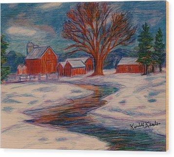 Winter Barn Scene Wood Print by Kendall Kessler
