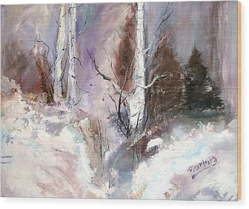 Winter Birches Wood Print by Barbara Cole