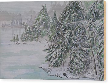 Winter Chill St Lawrence River Wood Print by Robert P Hedden