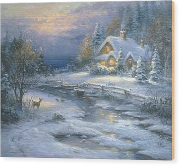 Winter Cottage Wood Print by Ghambaro