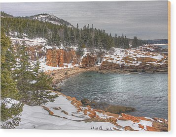 Winter Cove Wood Print by Robert Saccomanno