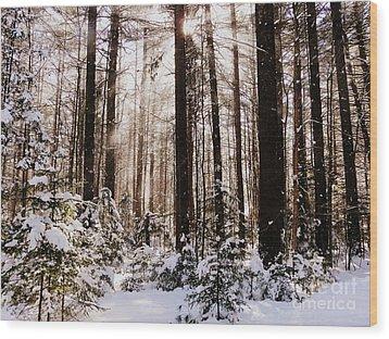 Winter Forest Wood Print by Avis  Noelle