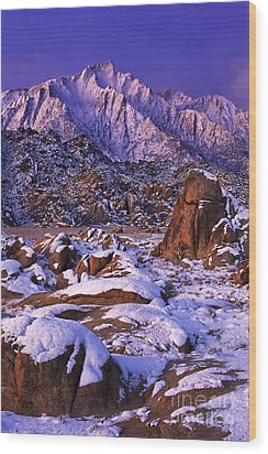 Winter Morning Alabama Hills And Eastern Sierras Wood Print by Dave Welling