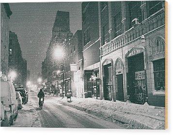 Winter Night - New York City - Lower East Side Wood Print by Vivienne Gucwa