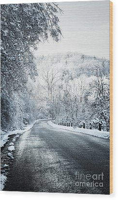 Winter Road In Forest Wood Print by Elena Elisseeva