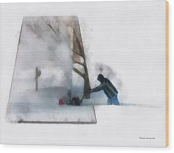 Winter Snow Blower Photo Art Wood Print by Thomas Woolworth