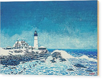 Winter Storm Watch Wood Print by David Linton