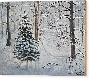Winter's Peace Wood Print by Vicky Path