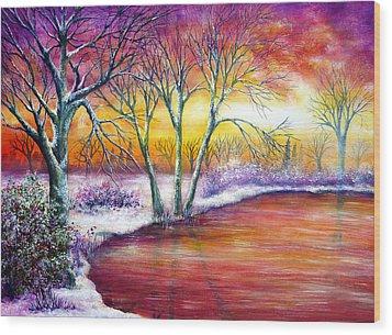Winter's Song Wood Print by Ann Marie Bone