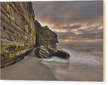 Wipeout Beach Cliffs Wood Print by Peter Tellone