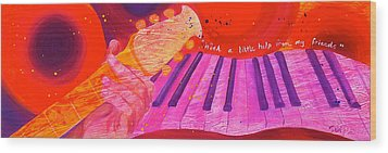 With A Little Help Wood Print by Debi Starr