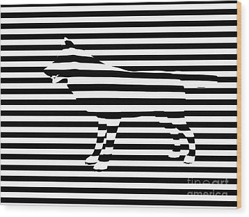Wolf Optical Illusion Wood Print by Pixel  Chimp