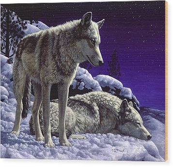 Wolf Painting - Night Watch Wood Print by Crista Forest