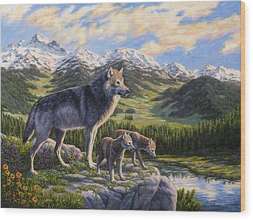 Wolf Painting - Passing It On Wood Print by Crista Forest