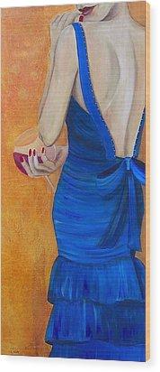 Woman In Blue Wood Print by Debi Starr