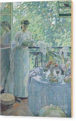 Woman On A Balcony  Wood Print by Henri Ottmann