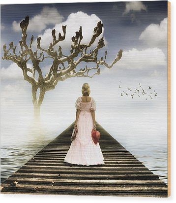 Woman On Pier Wood Print by Joana Kruse