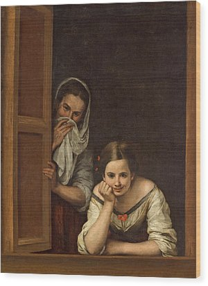 Women From Galicia At The Window Wood Print by Bartolome Esteban Murillo
