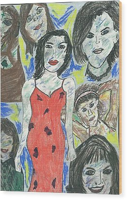 Women Of The 90's Collage Wood Print by Mark Flanagan